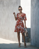 Cherry Picking Floral Short Sleeve Dress - FINAL SALE
