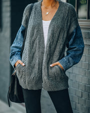 Ryan Pocketed Denim Sleeve Knit Cardigan
