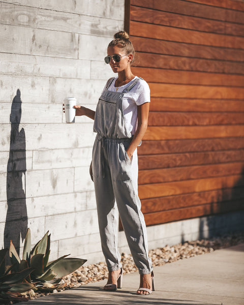Journey Tencel Drawstring Pocketed Overalls - Light Grey