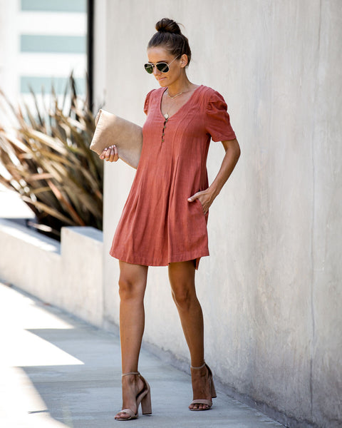 Take A Trip Linen Blend Pocketed Dress - Marsala