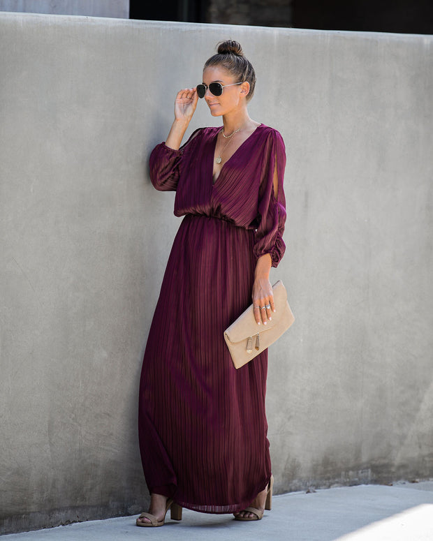 Striking Cold Shoulder Maxi Dress - Burgundy - FINAL SALE