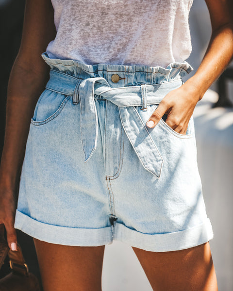 PREORDER - Delilah Paper Bag Waist Denim Shorts
