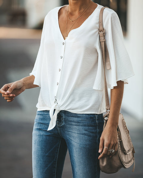 Angel Kisses Button Down Tie Top - Ivory - FINAL SALE