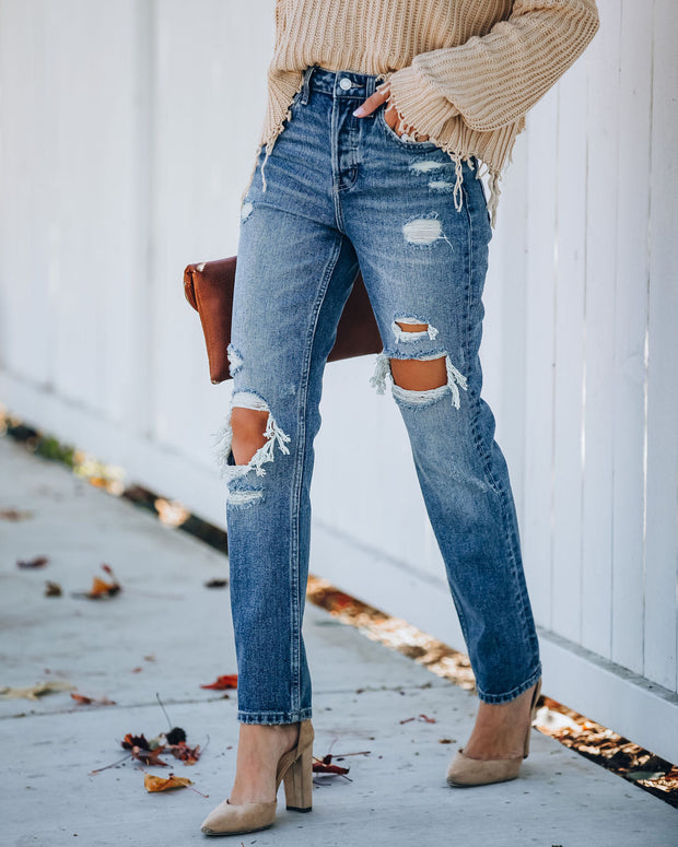 Rocky Distressed High Rise Straight Leg Denim