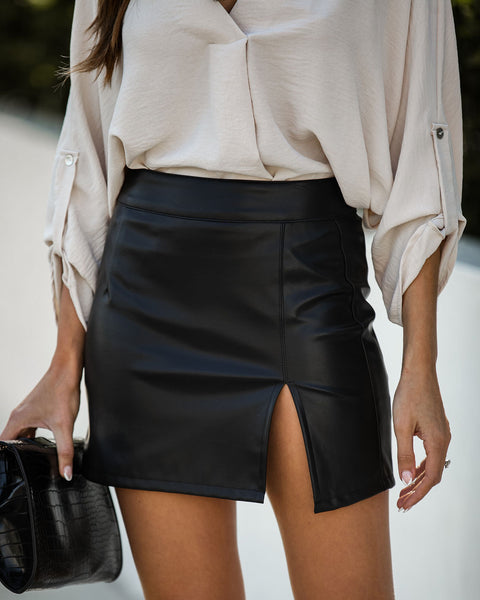 Stefani Faux Leather Mini Skirt