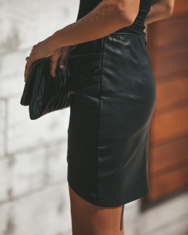 Rock + Roll Faux Leather Skirt view 4