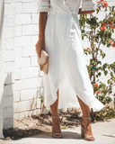 Meant To Be Ruffle Wrap Maxi Dress - White