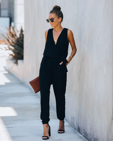 The Show Goes On Pocketed Tie Jumpsuit