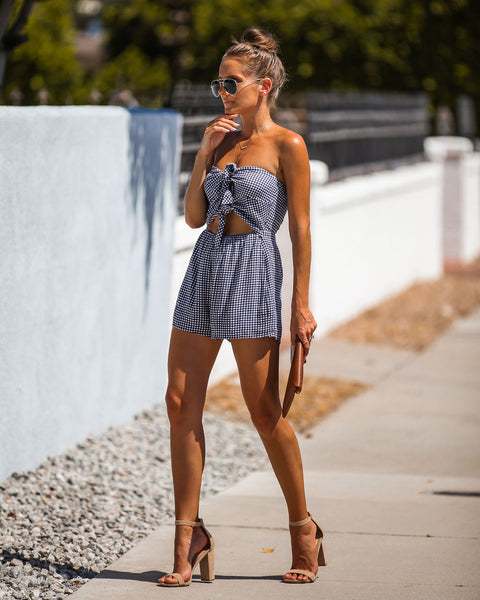 Weekend In Napa Strapless Dual Knot Gingham Romper