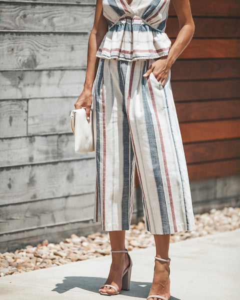 Rising Wind Cotton Striped Pocketed Trousers