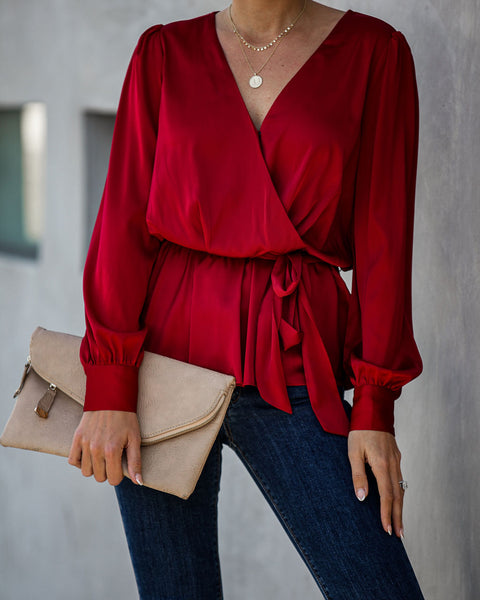 Entrust Satin Peplum Tie Blouse