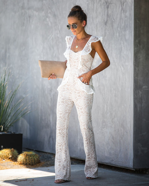 Spotlight Ruffle Lace Pocketed Jumpsuit