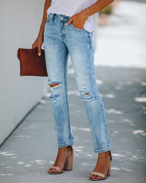 Donna Mid Rise Distressed Cuffed Denim - FLASH SALE