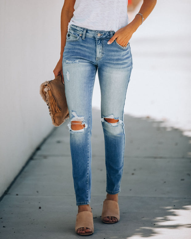 Abroad Mid Rise Distressed Skinny  - FINAL SALE