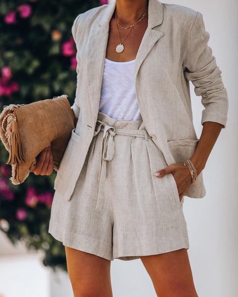 Gemma Pocketed Linen Blend Blazer - Oatmeal
