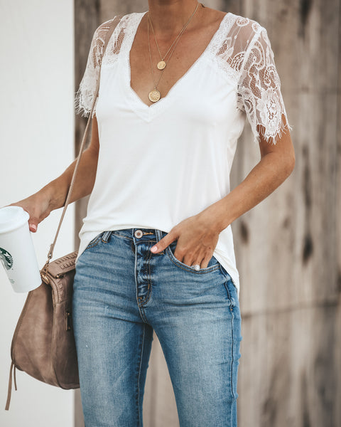 PREORDER - Sweet Side Lace Top - Ivory