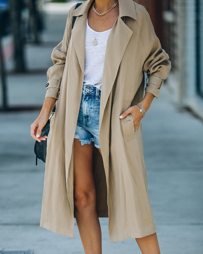 Facts Pocketed Lightweight Trench Coat