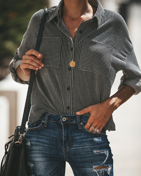 Xtra Soft Striped Button Down Top