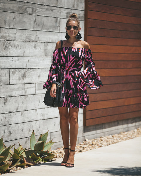 Off The Shoulder Tulip Petal Pocketed Dress - FINAL SALE