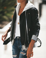Dylan Hooded Faux Leather Pocketed Bomber Jacket