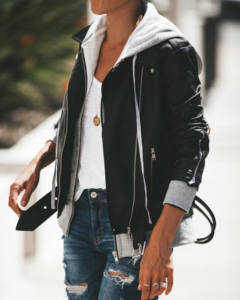 Dylan Hooded Faux Leather Bomber Jacket