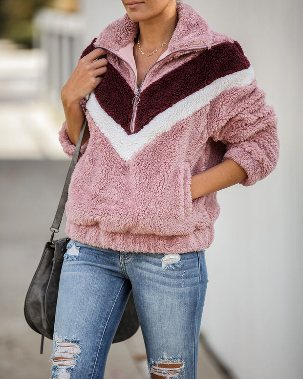 Cup Of Cheer Pocketed Chevron Fuzzy Knit Pullover  - FINAL SALE