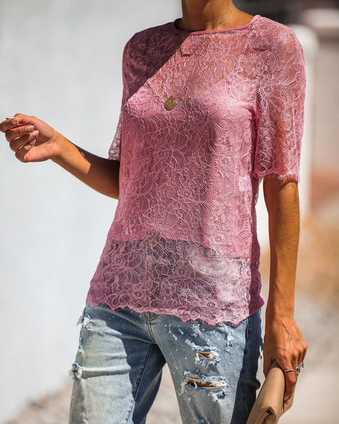 Sultry Nights Lace Overlay Top - Mauve - FINAL SALE