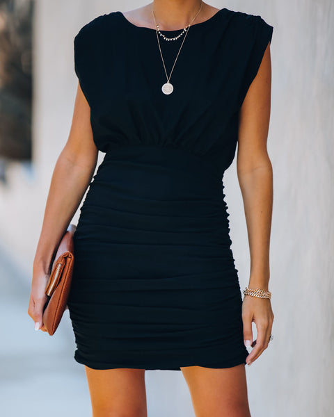 Bobbi Ruched Dress - Black