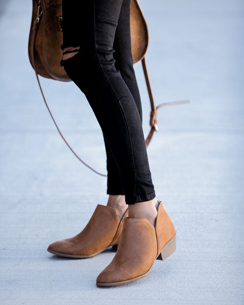 Lombard Faux Suede Bootie - Tan