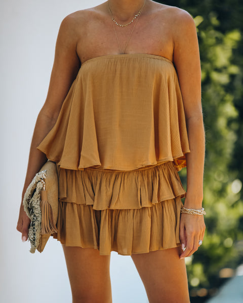 Balmy Strapless Smocked Backless Romper - Caramel