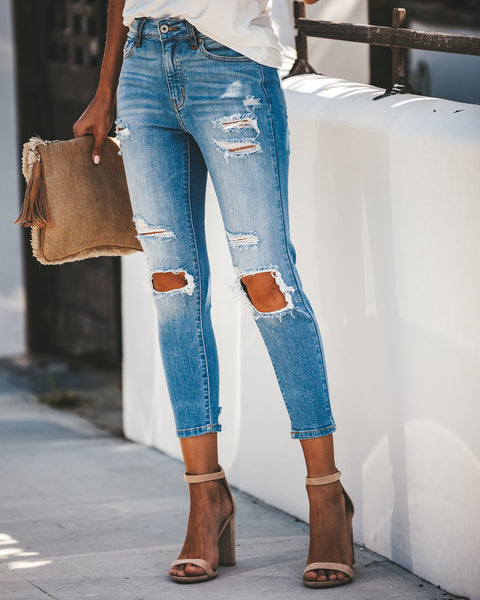 Kayla Distressed High Rise Cropped Denim