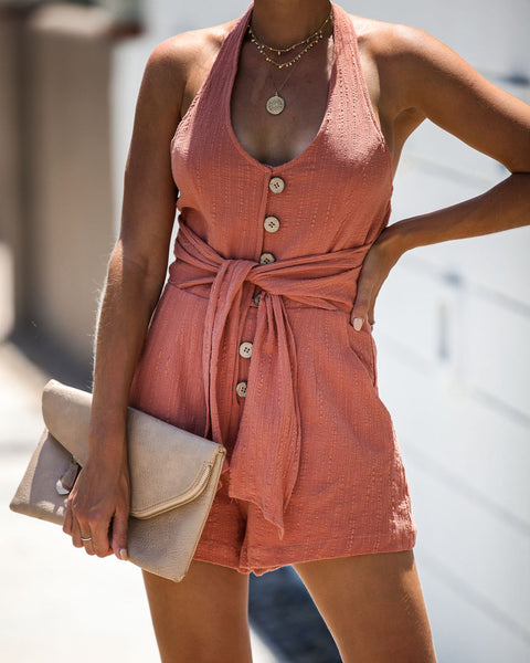 Sublime Cotton Pocketed Halter Tie Romper - Terracotta - FINAL SALE