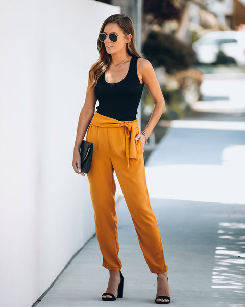 Stylize Pocketed Side Tie Trousers - Honey - FINAL SALE