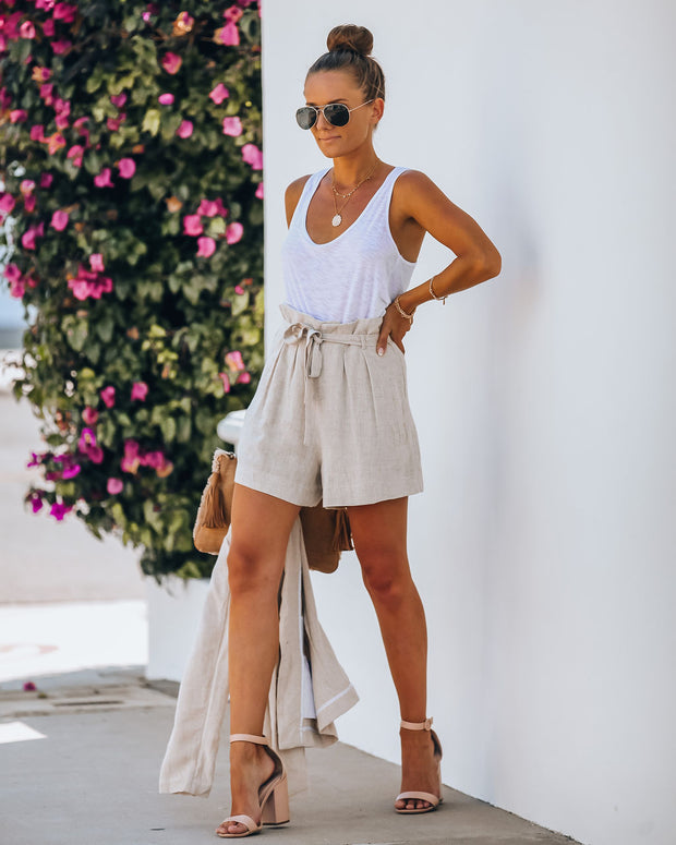 Gemma Pocketed High Rise Linen Blend Shorts - Oatmeal  - FINAL SALE