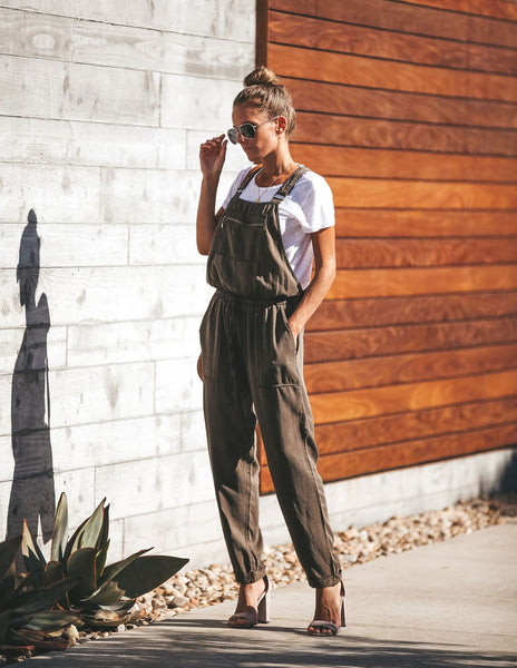 Journey Tencel Drawstring Pocketed Overalls - Army