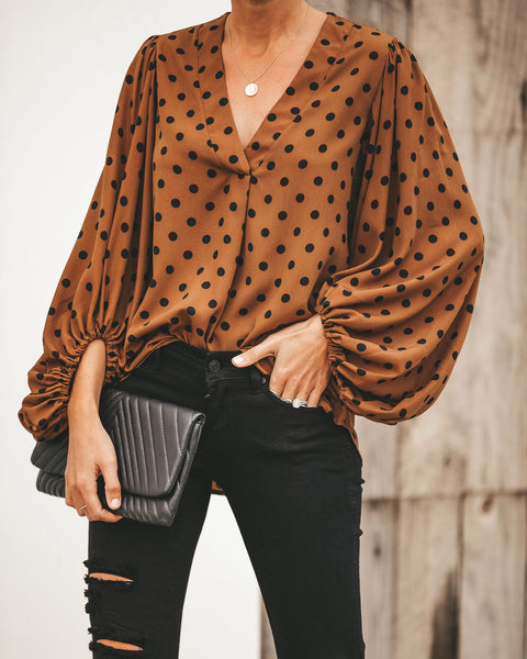 Count On Me Polka Dot Balloon Sleeve Blouse