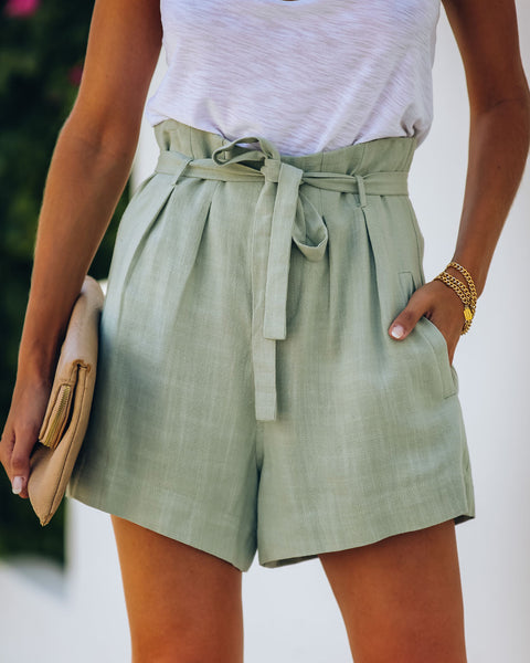 Gemma Pocketed High Rise Linen Blend Shorts - Sage