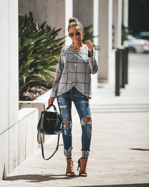 Upper East Side Plaid Knit Top