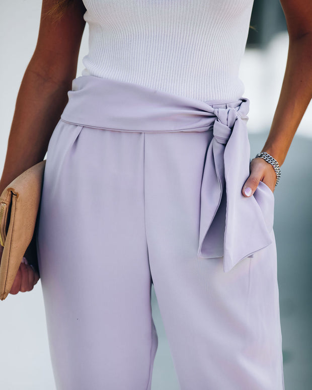 Stylize Pocketed Side Tie Trousers - Light Lavender - FINAL SALE