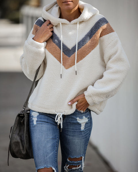 Sheryl Chevron Sherpa Drawstring Hoodie  - FINAL SALE