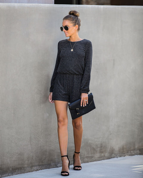 Countdown Long Sleeve Shimmer Romper - FINAL SALE