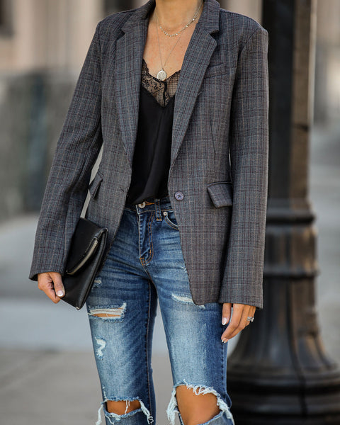 Montclair Pocketed Plaid Blazer - FINAL SALE