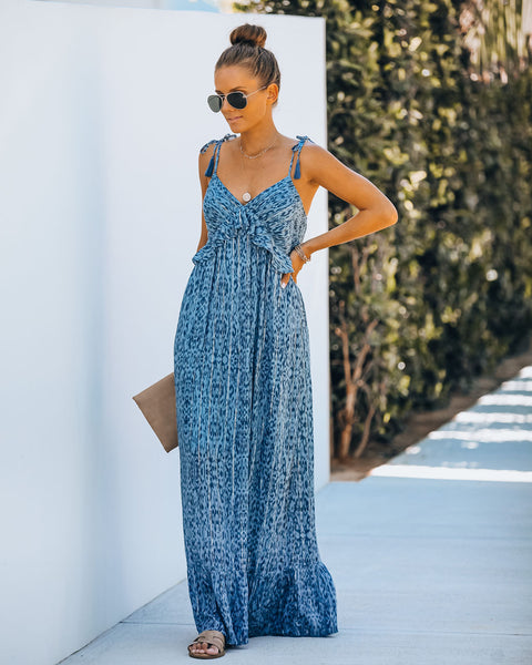 No Place I'd Rather Be Metallic Ruffle Maxi Dress