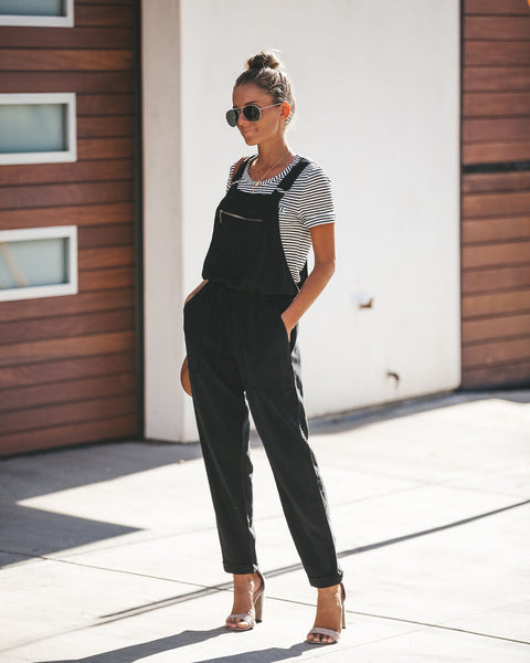 Journey Tencel Drawstring Pocketed Overalls - Black