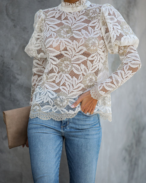 Nice To Meet You Lace Puff Sleeve Blouse  - FINAL SALE