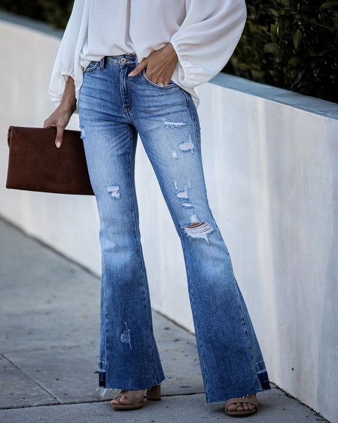 Happy Days High Rise Frayed Bell Bottom Denim  - FINAL SALE