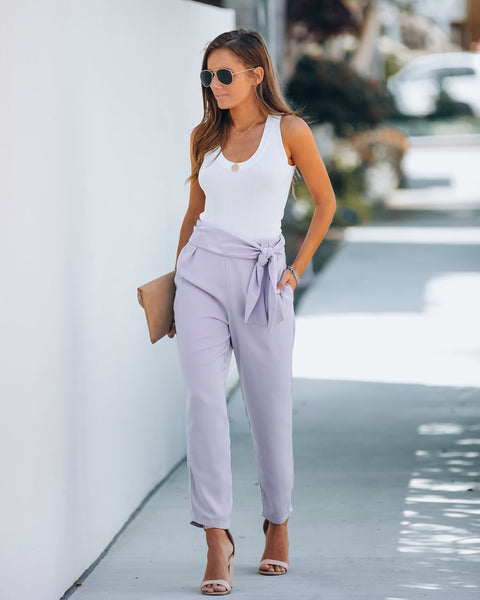 Stylize Pocketed Side Tie Trousers - Light Lavender