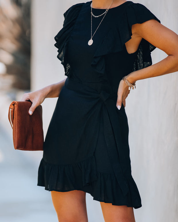 Lost Without You Linen Blend Ruffle Tie Dress