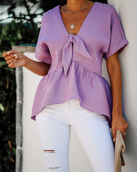 When She Smiles Peplum Tie Top - Purple - FINAL SALE