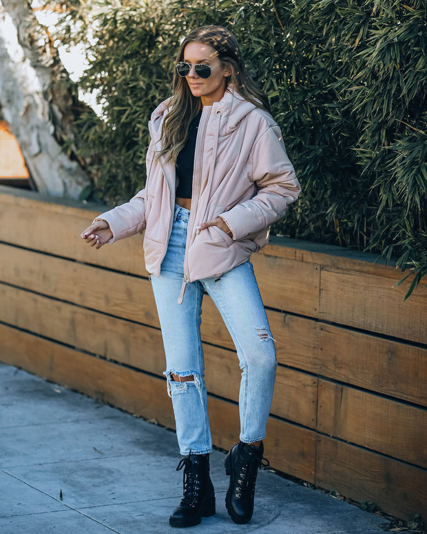 Stay Awhile Pocketed Hooded Puffer Jacket - Blush